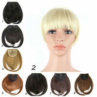Girls Womens Natural Clip on Front Neat Bang Fringe Hair Straight Wigs Hairpiece