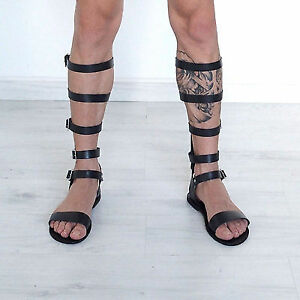 0cccdc82c5c3 men tall knee high black leather gladiator sandals strappy Roman ...