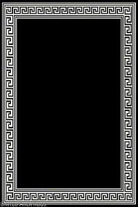 5x7 Area Rug Modern Greek Key Design Solid Black With Border