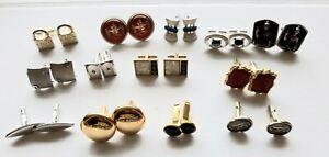Lot-of-13-Pair-Vintage-Cuff-Links-Glass-Goldtone-Silvertone-Cufflinks-Lot