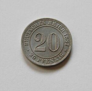 Imperio: 20 Peniques 1887 G, J. 6 ,Fast sin Circulación, Magnífico Piezas Raro