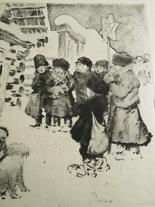 Jēkabs Belzēns (1870- NY 1937) GRAVURE SCENE RUSSIE RUSSIA LETTONIA LATVIA 1922