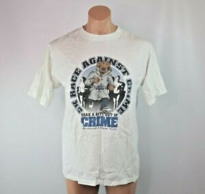 VTG-90s-Take-A-Bite-Out-Of-Crime-5k-Amherst-NY-Runner-T-Shirt-sz-L-Single-Stitch