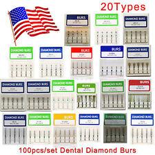 USA 100pcs Dental Diamond Burs for High Speed Handpiece Medium FG 1.6mm New