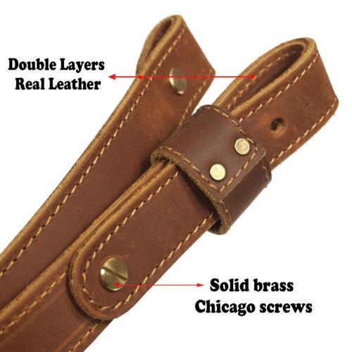 "Cowhide Gun Strap Genuine Leather Rifle Sling Adjust Handmade/_1/"" Wide US Local"