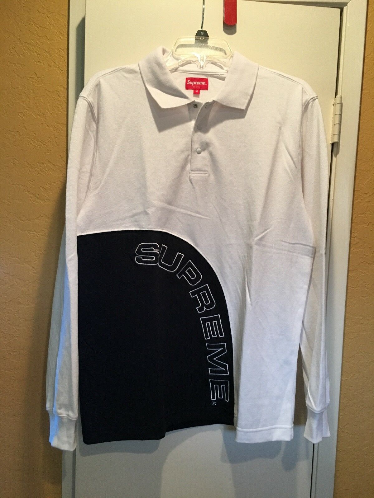Supreme Corner Arc Long Sleeve Polo White Navy Size Medium