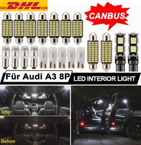 20X Canbus SMD LED Innenraumbeleuchtung komplett Für Audi A3 8P 04-12 Xenon Weiß