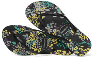 613fad44dae2db Details about Havaianas Women`s Flip Flops Slim Abstract Sandals Black NWT