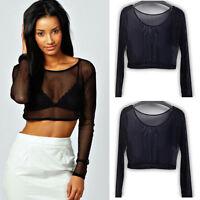 Womens Crop Top Ladies Black Mesh Lace Fishnet Long Sleeve Stretch Vest T Shirt