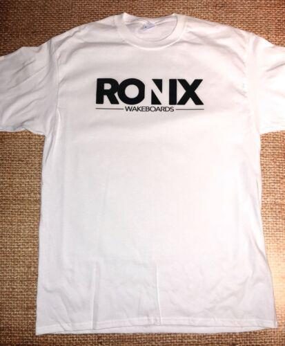 RONIX MEGA CORP WHITE T-SHIRT Small SM W//Sticker  WAKEBOARD