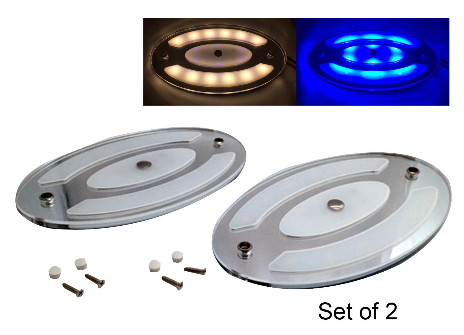 Pactrade Marine Boat RV Auto 2 x Oval LED Ceiling Courtesy Light  Touch Switch
