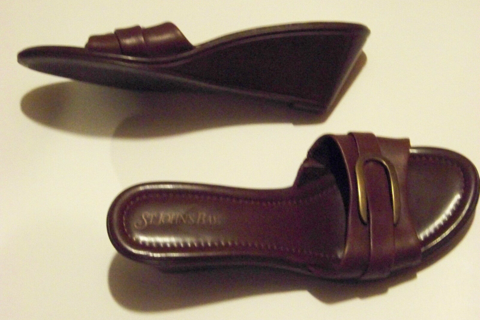 womens st johns bay brown leather buckle 8 wedge heels shoes size 8 buckle deebbf