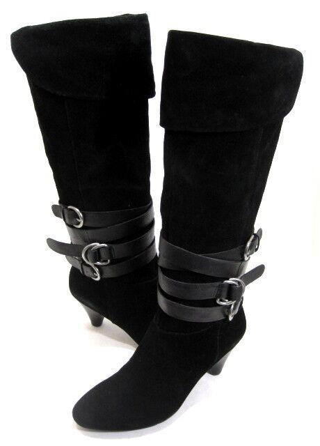 Nine West Para Mujer Alto Talón con puño rodilla afterhour-Alto Bota De Gamuza Negra M