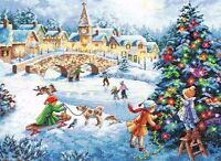 Gold Collection Winter Celebration Counted Cross Stitch Kit 16inx12in 16 Count Craft Supplies