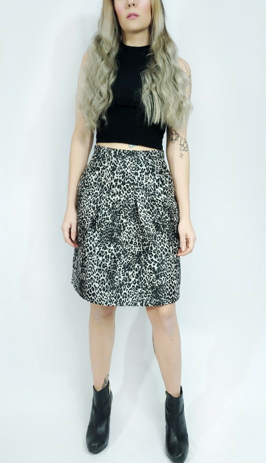 Max Mara Pleated Leopard Print Jacquard Pleated Full Career A-line Skirt XS