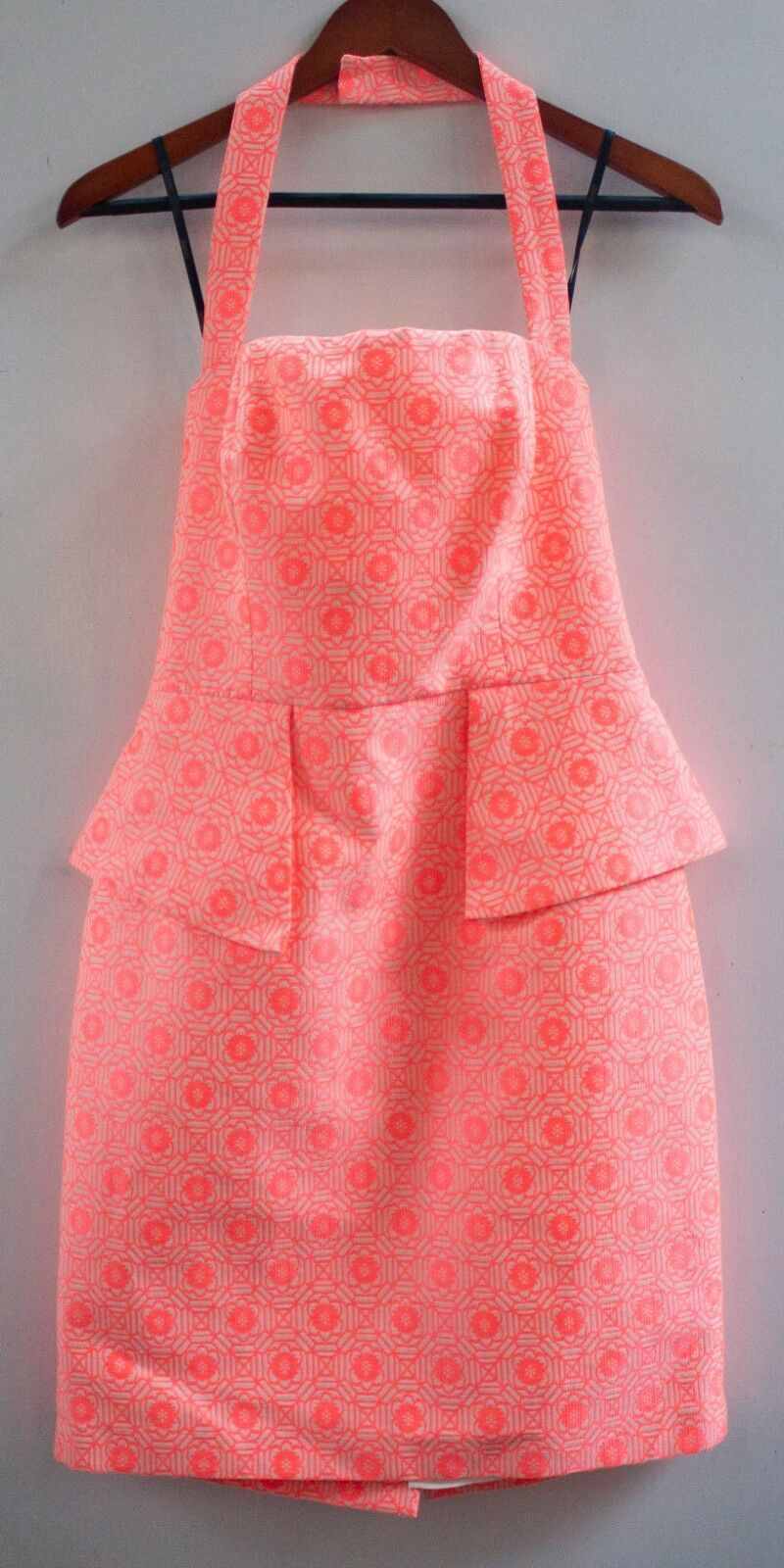 NEW LAUNDRY BY SHELLI SEGAL NEO PINK MULTI HALTER DRESS SIZE 8