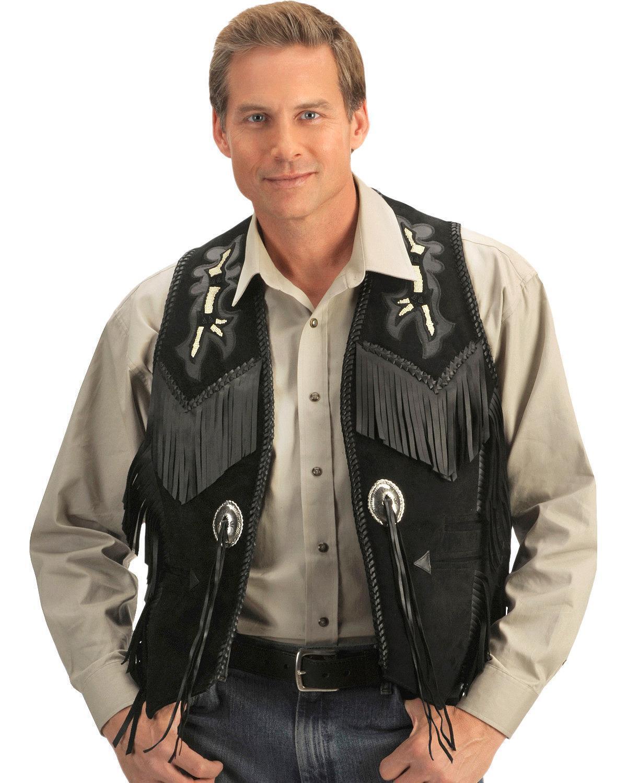 Herren Schwarz Handgefertigt Ärmellos Wildleder Wear Cowboy Fransen Style Weste