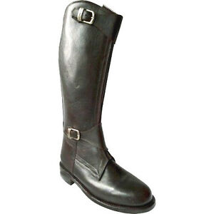 Polo-Player-Riding-Tall-Boots-Mens-13-14-Front-Zipper-Leather