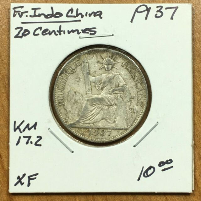 1937 French IndoChina 20 Centimes SILVER Coin, KM# 17.2, XF, ID2306