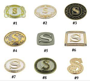 Initial-Letter-S-Belt-Buckle-Alphabet-Monogram-Western-Cowboy-Multiple-Style-New