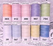 10 NEW 274 yard Spools light colors GUTERMANN 100% polyester sew-all thread