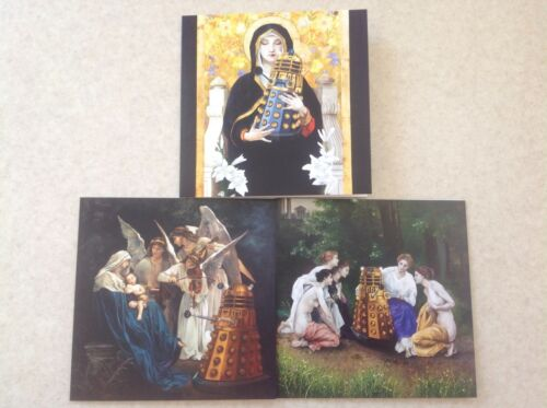 EXCLUSIVE DR WHO DALEK ART GREETINGS CARDS DALEKS MEET FINE ART 3 DESIGNS