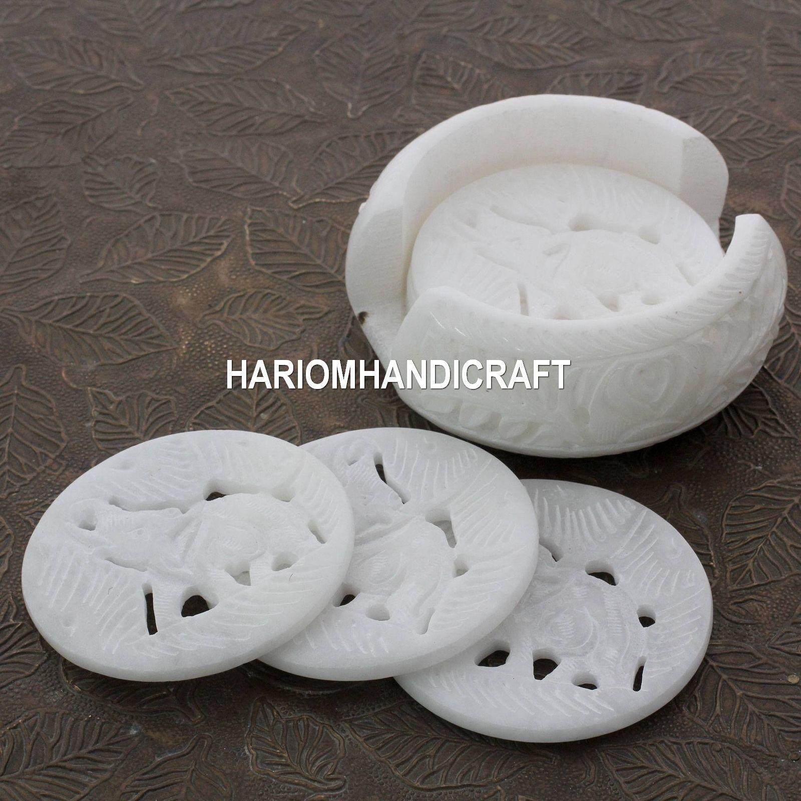 6pcs Marble Round Elephant Coaster Set handmade office Table Elephant Art Gifts