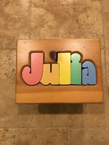 Stupendous Details About Kids Puzzle Personalized Name Wooden Stool Bench Julia Ocoug Best Dining Table And Chair Ideas Images Ocougorg