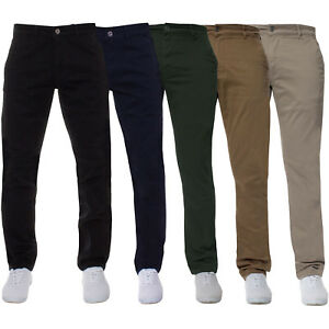 Enzo-Jeans-Mens-Super-Skinny-Slim-Fit-Chinos-Stretch-Trousers-Pants