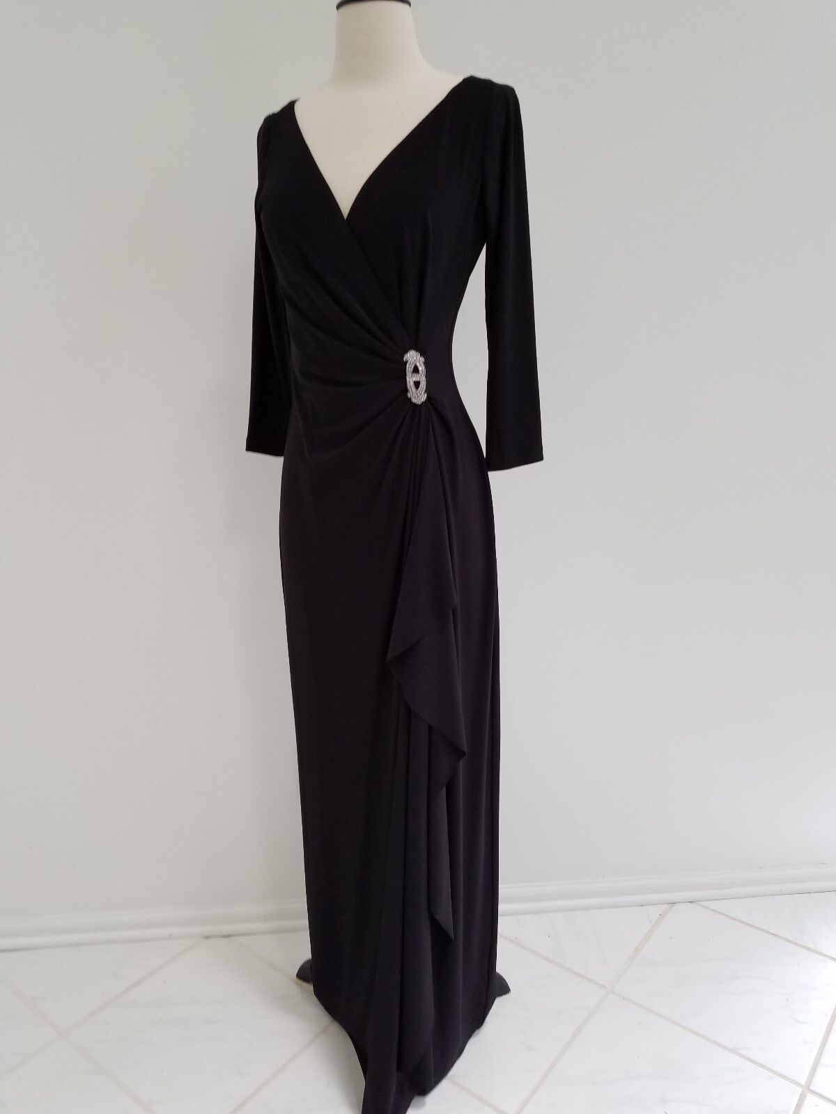 Evening party 3 4 sleeve schwarz maxi dress w crystal brooch,LaurenRal,s.4