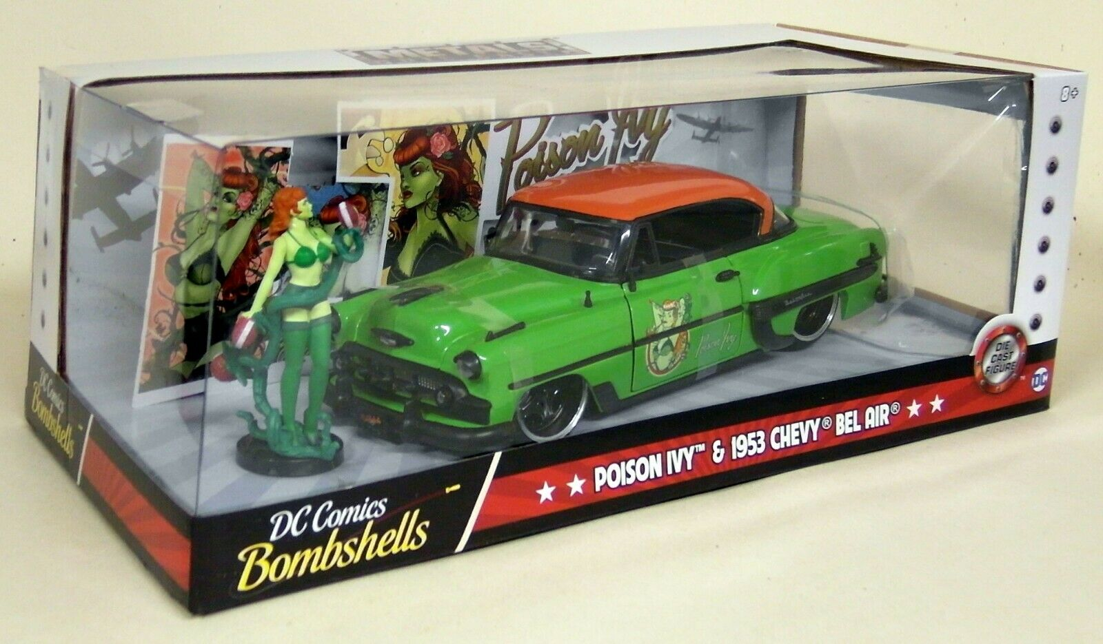 Jada 1 24 Scale DC Comics Poison Ivy & 1953 Chevy Bel Air Diecast model car