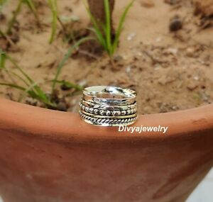 Solid-925-Sterling-Silver-Spinner-Meditation-Ring-Statement-Ring-Size-M-ra219