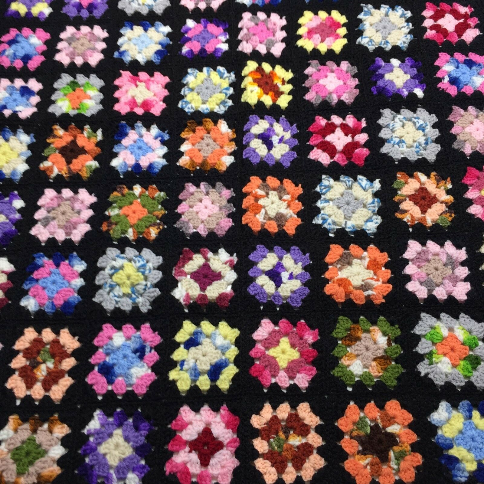 Afghan Crochet Granny Square 34 x44  Blanket Handmade Throw Bed Couch Quilt