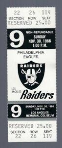 VINTAGE-1986-NFL-PHILADELPHIA-EAGLES-OAKLAND-RAIDERS-FULL-FOOTBALL-TICKET