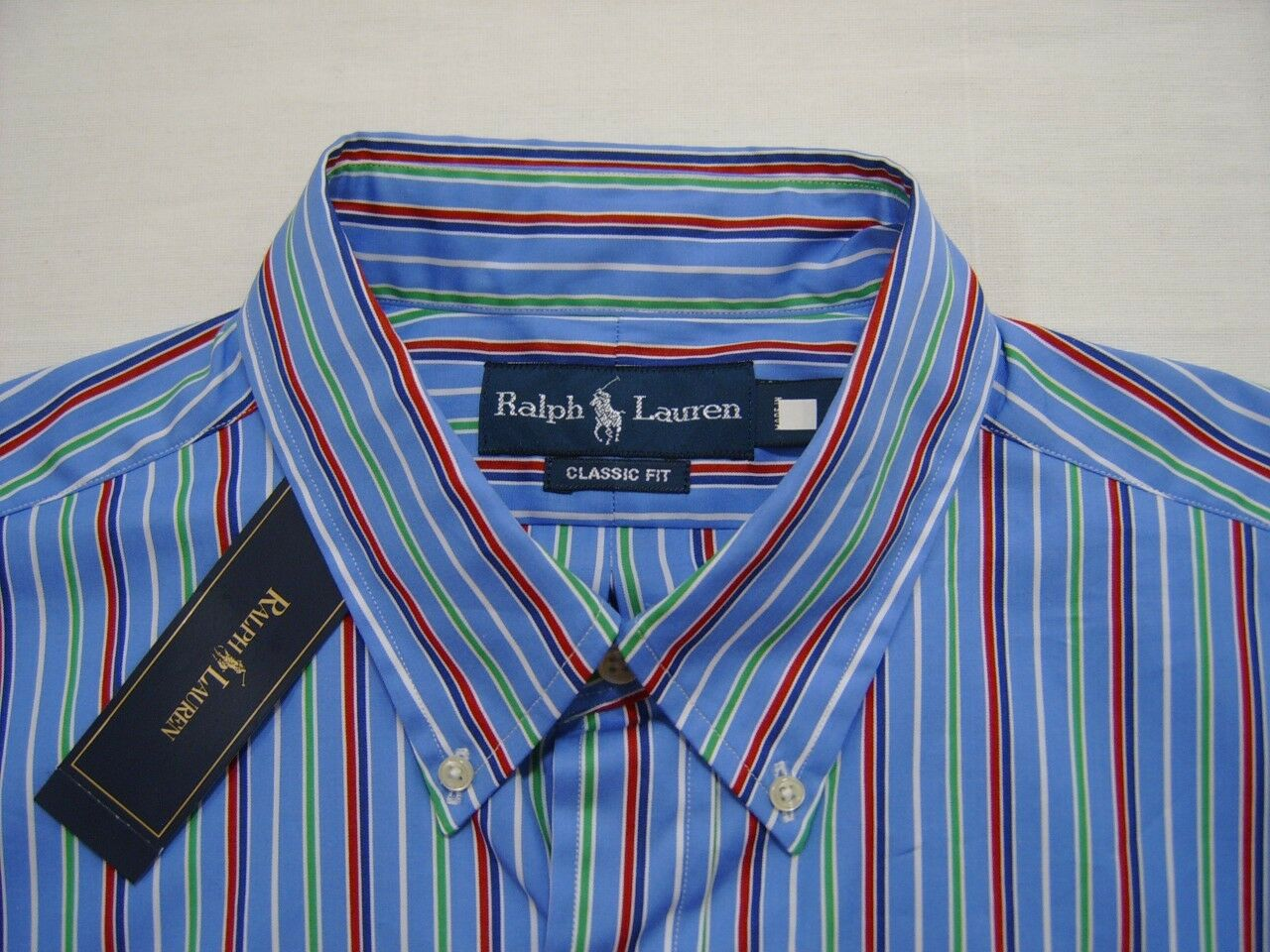 Polo Ralph Lauren Mens Pony Logo L Sport Dress Shirt Button Down bluee Red Stripe