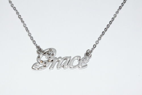Birthday Mothers Christmas GRACE 18ct White Gold Plating Necklace With Name
