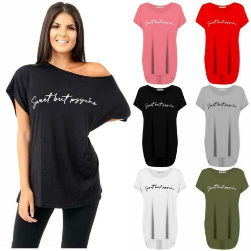 Womens Sweet But Psycho Print Off Shoulder Oversized Lagenlook T-Shirt Baggy Top