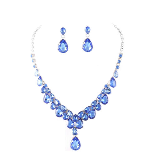 Glamour Schmuckset Set Kette Ohrringe Silber Kristall Königsblau Blau Tropfen