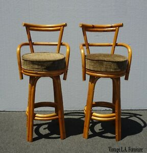 Superb Details About Pair Vintage Mid Century Modern Bamboo Brown Swivel Bar Stools Tiki Palm Beach Dailytribune Chair Design For Home Dailytribuneorg