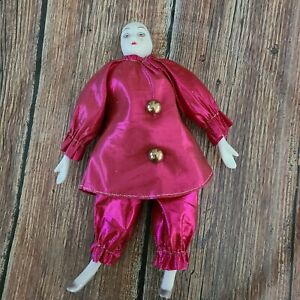 Vintage-Silvestri-Porcelain-Doll-fuchsia-lame-Harem-Pants-Mime-silverHandPainted