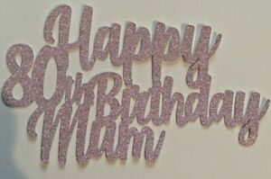 Custom-80th-Birthday-Cake-Topper-Glitter-Any-Name-Word-Personalised-Pink-Glitter