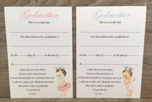 Gift Godmother// Godfather//Godparent Card certificate thank you Christening A5