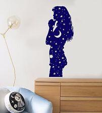 Vinyl Wall Decal Pajamas Girl Night Stars Moon Bedroom Design Stickers (893ig)