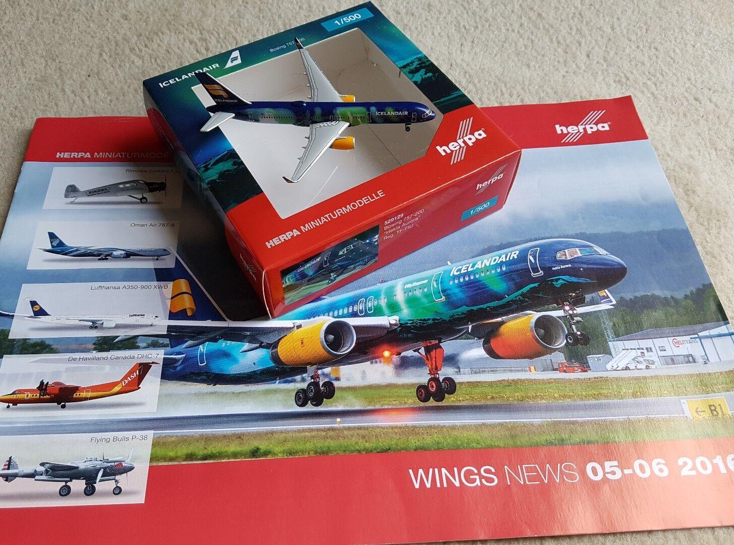 Herpa Wings 529129 Icelandair  Hekla Aurora  TF-FIU Boeing 757-200 plus Prospekt  | Spaß