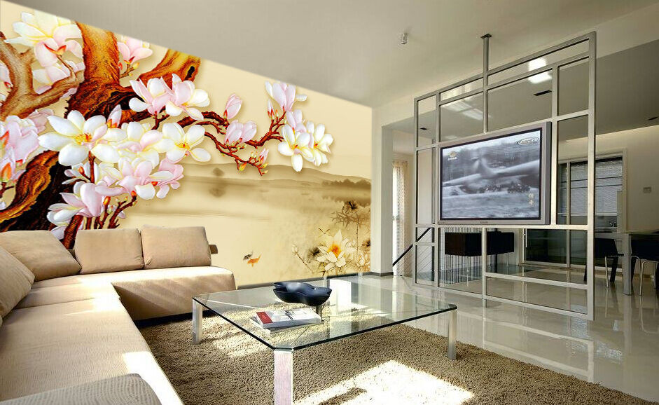 3D Lake, Flowers 394 Wall Paper Wall Print Decal Wall Deco Indoor Wall Murals