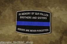 Thin Blue Line Fallen Officer Memorial Patch, Law Enforcement