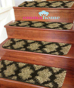 15pc-Soft-Shaggy-NON-SLIP-MACHINE-WASHABLE-Stair-Treads-Mats-Taber-Beige-Brown