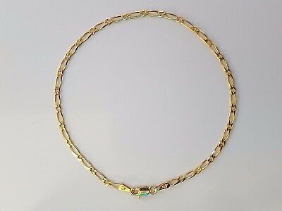 NEW Solid 9ct 9k Yellow Gold Bevelled Figaro 1.1 Diamond Cut Ladies Bracelet