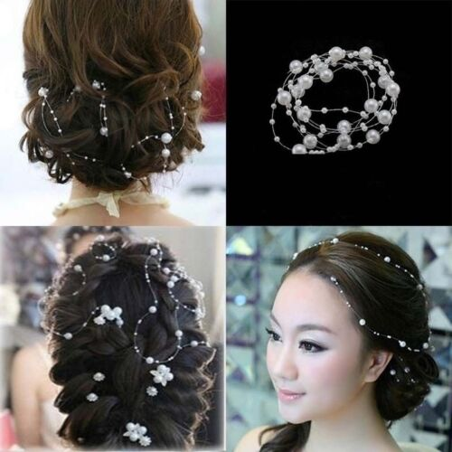 New Bridal Pearl Studded Wedding Party Headpiece Tiara Headdress Hairband 130cm
