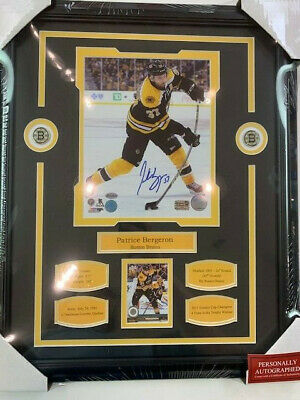 Boston Bruins Bergeron 12x16 Framed Player Number with Replica Autograph